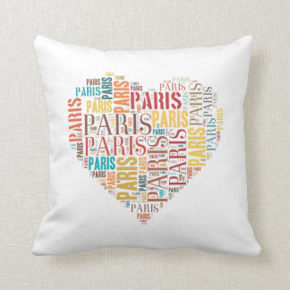 Inscriptions Paris in Heart on White Background Pillows