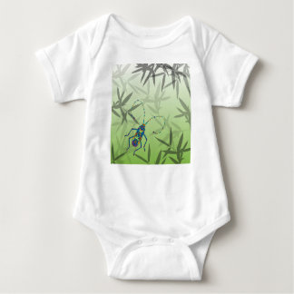 Insect Bamboo leaves Green Unique Pattern Baby Bodysuit