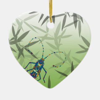 Insect Bamboo leaves Green Unique Pattern Ceramic Heart Decoration