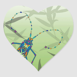 Insect Bamboo leaves Green Unique Pattern Heart Sticker