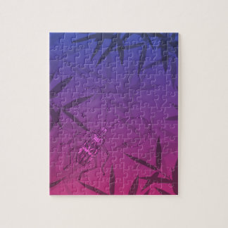 Insect Bamboo leaves Pink and Blue Unique Pattern Jigsaw Puzzle