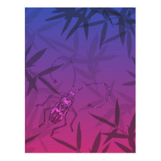 Insect Bamboo leaves Pink and Blue Unique Pattern Postcard