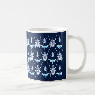 Insect Design, Goliath  + Moths , Blue Coffee Mug