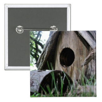 Insect s eye view of wooden bird house button