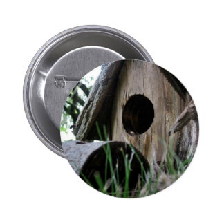 Insect s eye view of wooden bird house pinback button