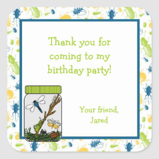 Insects Bug Jar Birthday Party Favor Treat Bag Square Sticker