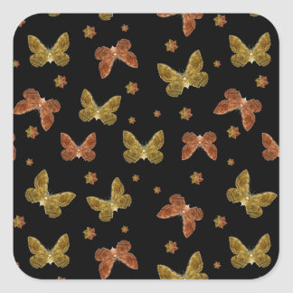Insects Motif Pattern Square Sticker