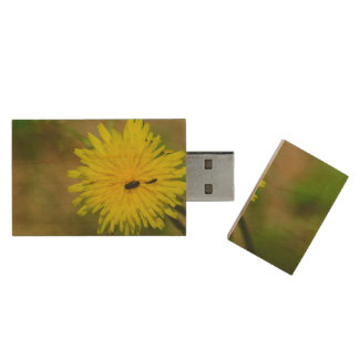 Insects on a yellow dandelion macro wood USB 2.0 flash drive