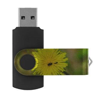 Insects on a yellow dandelion macro swivel USB 2.0 flash drive