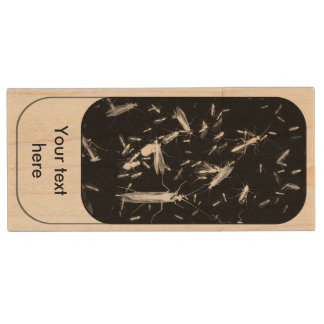 Insects on black wood USB 3.0 flash drive