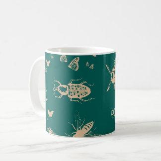 Insects pattern, deep opal green coffee mug
