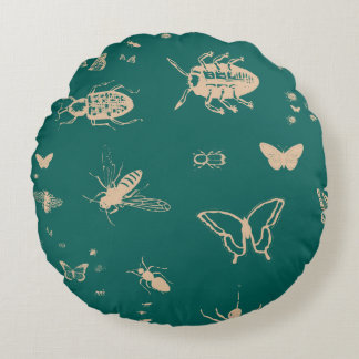 Insects pattern, deep opal green round cushion