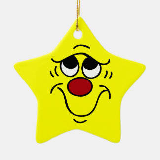Insecure Smiley Face Grumpey Ceramic Star Decoration