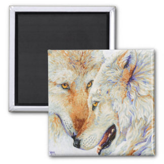Inseparable - Wolf Duo Square Magnet