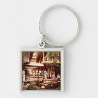 Inside a Japanese Tea House Vintage Old Japan Silver-Colored Square Key Ring