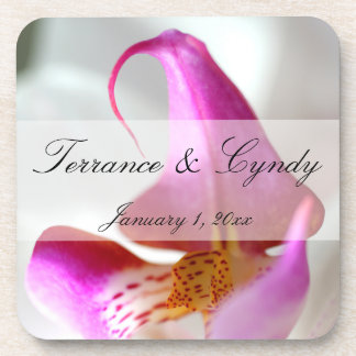 Inside a White Orchid Personal Wedding Drink Coasters