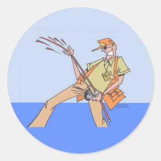 Inside Fisherman round stickers