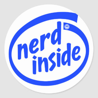 Inside (nerd) round sticker