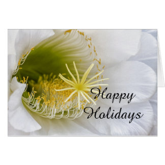 Inside of an Echinopsis in bloom Happy Holidays Card