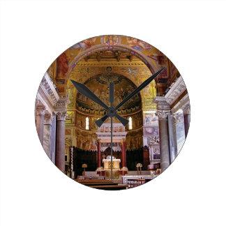 Inside the church yeah round clock