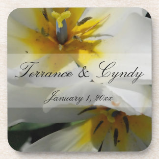 Inside White Lilies Personal Wedding Coaster