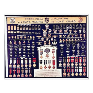 Insignia Medals And Decorations 11 Cm X 14 Cm Invitation Card