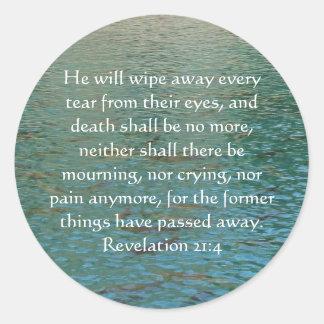 Inspiration and Strength Bible Verse Revelation 21 Classic Round Sticker