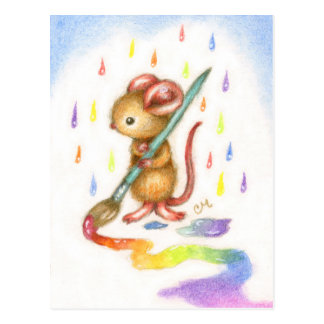 Inspiration - Cute Artist Mouse Postcard