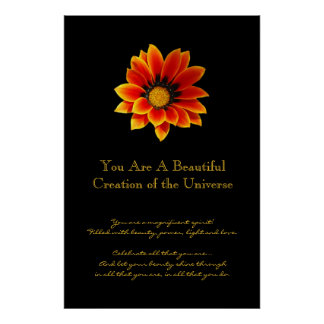 Inspiration Gold and Orange Daisy Poster