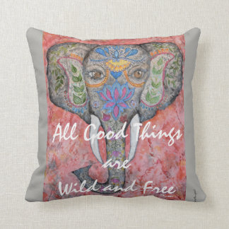 Inspiration Painted Elephant Watercolor Art Pillow