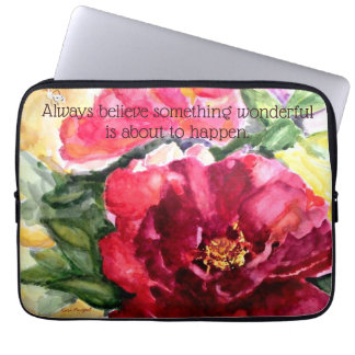 Inspiration Quote Rose Floral Watercolor Art Laptop Sleeve