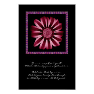 Inspiration - Red and Pink Daisy Poster