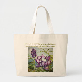 Inspiration Zen Quote Lotus Art Jumbo Tote