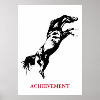 Inspirational Achievement Black White Horse Poster