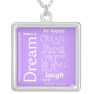 inspirational and motivational words - dream square pendant necklace