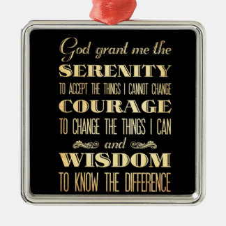 Inspirational Art - God Grant Serinity Silver-Colored Square Decoration