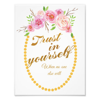 Inspirational art print with watercolour flowers photo print