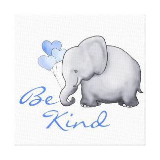 Inspirational Be Kind Cute Elephant Nursery Canvas Print