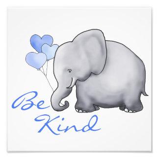 Inspirational Be Kind Cute Elephant Nursery Photo Print