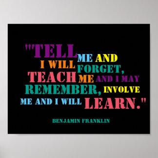Inspirational Benjamin Franklin Quote Poster