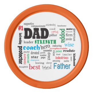 Inspirational Best Father Dad Word Cloud Poker Chips