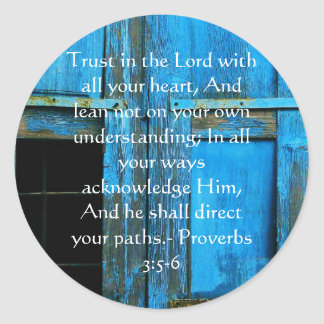 Inspirational Bible Quote Proverbs 3:5-6 Round Sticker