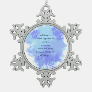 Inspirational Bible Scripture Quotes Snowflake Pewter Christmas Ornament