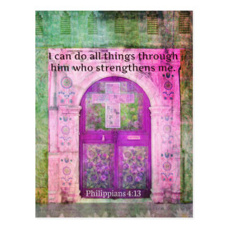 Inspirational Bible Verse About Strength & Faith Postcard