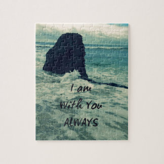 Inspirational Bible Verse I am With You Always Jigsaw Puzzle