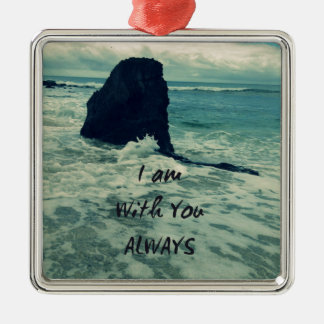 Inspirational Bible Verse I am With You Always Silver-Colored Square Decoration
