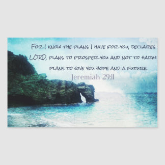 Inspirational Bible Verse Jeremiah 29:11 Rectangular Sticker
