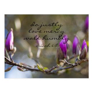 Inspirational Bible Verse Micah 6:8; Magnolia Postcard