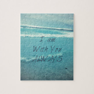 Inspirational Bible Verse ocean - I am With You Jigsaw Puzzle