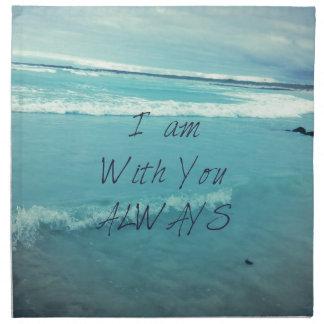 Inspirational Bible Verse ocean - I am With You Napkin